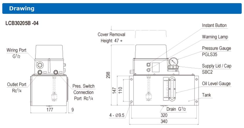 Thông số lắp đặt máy bơm dầu tự động LCB3 (TMS)