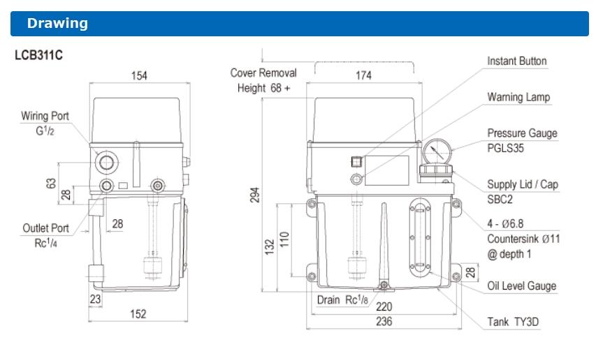 Thông số lắp đặt máy bơm dầu tự động LCB3